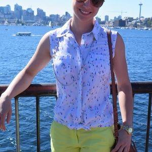 Merona Target White Sailboat Blouse Pink Sleeveles